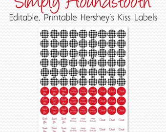 Houndstooth Bridal Shower Favor, Chocolate Candy Label, Circle Sticker, Red, Black and White, Party Supplies -- Editable, Printable