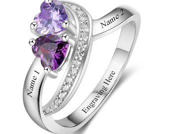 2 Birthstone Dancing Hearts Personalized Mothers Ring