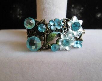 Aqua Floral and Gunmetal Brooch #1