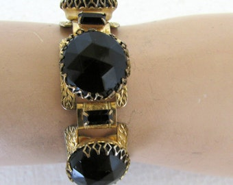 Vintage Black Obisidian Cuff Bracelet Huge Faceted Stones Red Carpet Style Unmarked