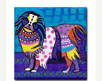 Japanese Chin  art Tile Ceramic Coaster  Folk Art Print of painting by Heather Galler dog