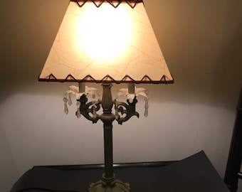 Vintage Olive Green Mid Century Chandelier Style Table Lamp with Tear Drop Prisms