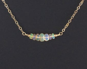 Delicate Opal Necklace - Real Opal Necklace - Ethiopian Opal Necklace - Genuine Opal Necklace