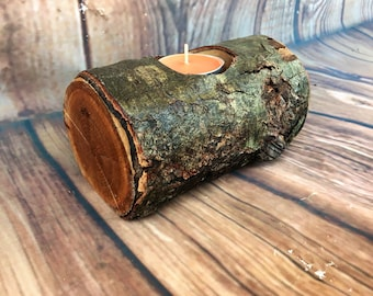 Cherry wood candle holder, hardwood rustic wooden candle holders, tea light holder, rustic centerpieces, home decor, rustic wedding decor, t
