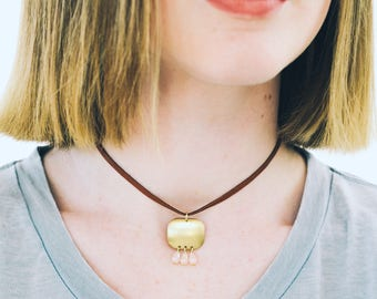 Brass Pendant Choker, Leather Choker, Leather Pendant Choker, Brass Choker, Blush Bead Necklace, Brass Pendant Necklace, Pink Choker