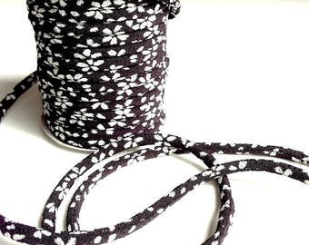 cords 3mm, Chirimen Japanese, pattern cherry blossom, black (C3405-3)
