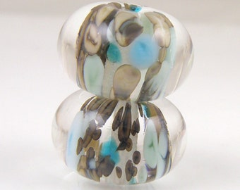 Victoria Earring Pair Encased SRA Lampwork Handmade Artisan Glass Donut/Round Beads Made to Order Pair of 2 10x15mm