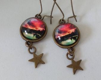 Long dangle earrings glass cabochons sunset over Lake
