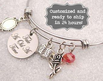 Beauty and The Beast Engraved - Tale As Old As Time Bracelet, Belle, DISNEY Inspired Bracelet, Custom Name Charm Bracelet, Adjustable Bangle