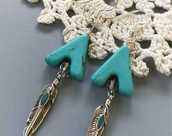 Turquoise Chevron and Feather Dangle Earrings