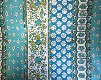 New!! Souleiado Bande Provensale  110x100 sheeting in turquoise made in Japan