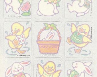 Vintage 1986 Gibson Greetings Rabbits Chicks Easter Sticker Sheet
