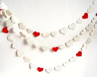 Valentines day garland, Vintage book paper hearts wedding garland, 10 ft eco friendly wedding shower decor