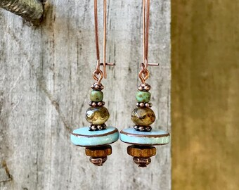Copper Earrings, Blue Earrings, Turquoise Earrings, Ceramic Earrings, Czech Glass Earrings, Rustic Earrings, Ethnic Earrings, Earthy