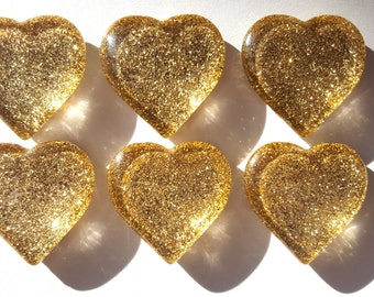 Gold Glitter Glass Heart Magnets. Strong Magnet Set of 6 Heart Magnets. Kitchen Decor - Office Decor - Party Favors - Gifts
