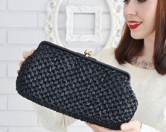 Vintage 1960s Black Woven Raffia Clutch with Black Lining by Ritter 'It's in the Bag'