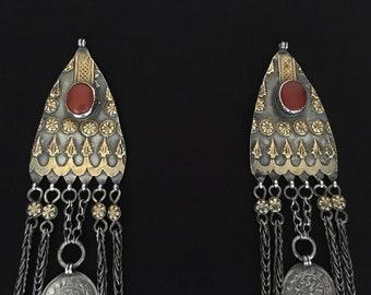 RARE Antique Turkmen-Yomud pair of tribal silver headdress jewelry