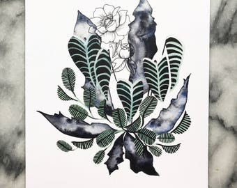 PEONY FLORA in the Marshland 8x10 // Art WATERCOLOR Ink Print Garden Leaves Indoor Plant Paynes Gray