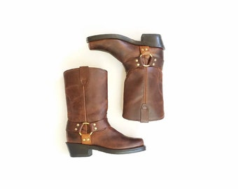 Classic Womens 6.5 Durango Harness Boots Boot Work Utility Engineer Boots Rugged Outdoor Brown Calf High Pull On Moto Motorcycle Riding Boho