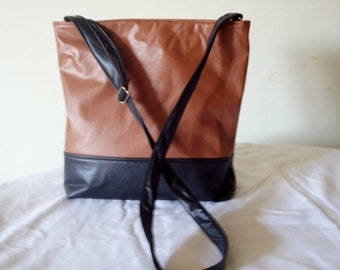 Two-tone Faux Leather Cross-body Purse / Tote Bag