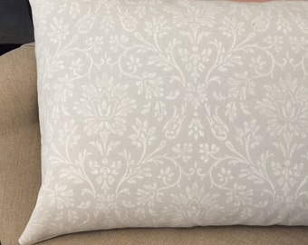 Handmade LAURA ASHLEY dove grey annecy shabby chic print cushion cover- COUNTRY french interior.