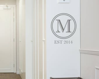 Monogram Letter Wall Sticker - Removable Custom Decal Quote Office