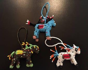Hand-Beaded Spirit Horse/Painted Pony Ornament