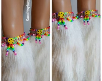 Rainbow smiley kandi garters, rave outfit, rave costume