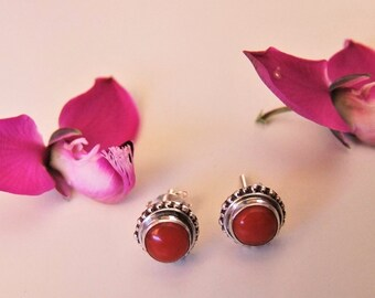 Silver and coral earrings. Silver jewelry. Silver jewelry. Coral Jewelry.