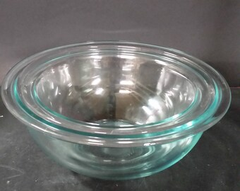 Set of 2 vintage Pyrex mixing, nesting bowls.  Light blue clear
