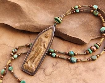 Thai Buddha Shrine Necklace + Asian Turquoise + Antique Altar + Vintage Beads + Sacred + Buddhist Amulet