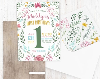 Woodland Floral Birthday Party Invitation, Meadow Flowers Birthday Party Invitation, Sprint Flower Birthday Invite, Lined Envelopes