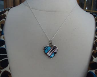 """925 Sterling Silver and Gemstone Heart Pendant on 18"""" Sterling Silver Chain, 4 Grams, Native American Signed SK, 6 Grams"""