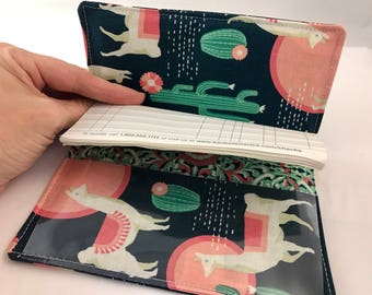 Green Duplicate Checkbook Cover Register -  Duplicate Checkbook Reigster Fabric Checkbook Cover  Lingering Llamas in Sedona Green