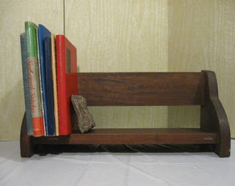 Vintage Small Wooden Bookcase  Wall or Tabletop Bookcase  Wood Wall Shelf  Wooden Tabletop Shelf   Knick Knack Shelf   Sturdy