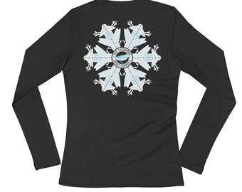 Surfboard Snowflake long sleeve shirt • Christmas shirt • Winter shirt • women's long sleeve shirt • shirt for surfer girls