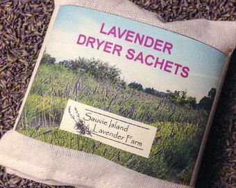 Eco-Friendy Lavender Dryer Bags - Set of 3 - Reusable, Natural Muslin, Organic Lavender
