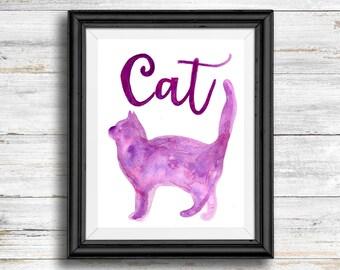 Purple Watercolor Cat- Digital Download