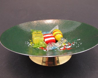 Vintage enamel ring dish ring plate jewelry dish East German GDR business card plate green