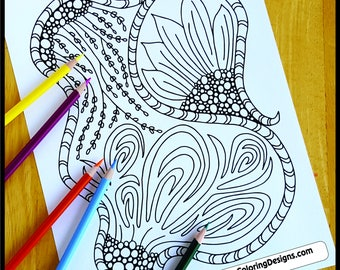 Coloring Page, Backyard Zentangle, Printable