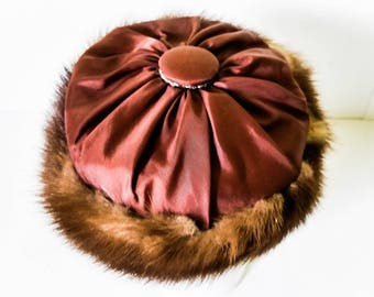 Mink fur and satin Hat - Brown satin Pillbox Hat - Rhinestone fur hat - Vintage Lady's Fur Hat - Theater Hat prop - 50s Pillbox hat