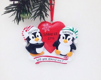 Penguin couple personalized Christmas ornament / First Christmas / Couple ornament  / Anniversary / Gift for Her / Valentines
