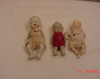 3 Vintage Bisque Dolls  18 - 895