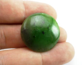 Cabochon from nephrite, the circle diameter 27x3 mm, Only Natural Stones
