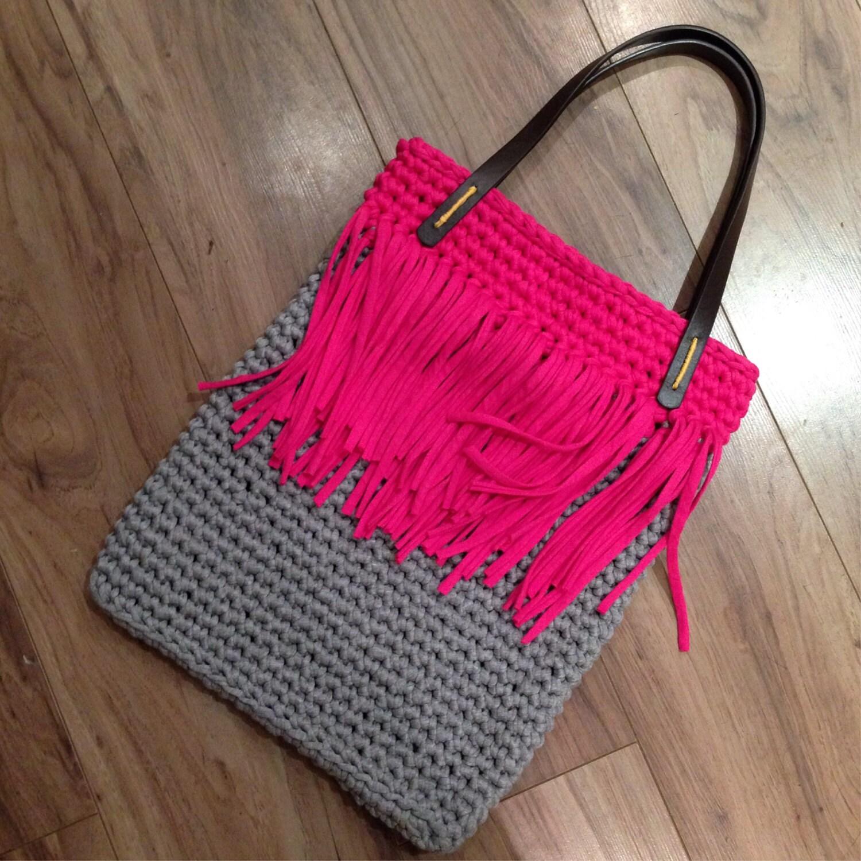 Tassel Tote T-shirt Yarn Crochet Bag Pattern