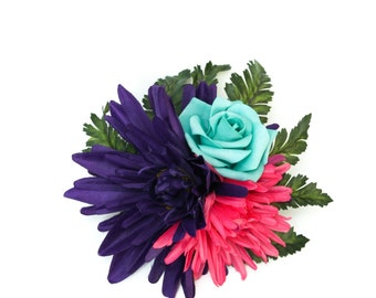 Hot Pink and Purple Mum and Aqua Rose Hair Flowers with Green Tropical Leaves Large Fascinator Clip