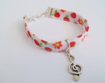 Liberty bracelet with silver treble clef charm