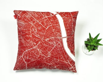 BONN Map, Throw pillow for your home decor,  Map of Bonn Cushion Cover, Custom Wedding Pillow Cover, anniversary gift, Colorful Pillow