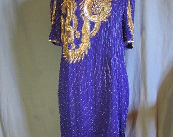 1980s Early 1990s Purple and Gold Sequin and Fully Beaded Dress Goes Below Knee   Trophy Dress   Size XL Extra Large 14-16 Plus Size