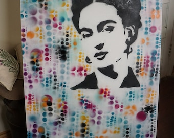 Spray Paint On Canvas. Frida Abstract.